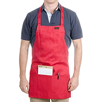 "Chef Revival 602BAFH Poly Cotton ""Front of the House"" Professional Bib Apron with 3 Compartment Front Pocket, 25 by 28-Inch, Red"
