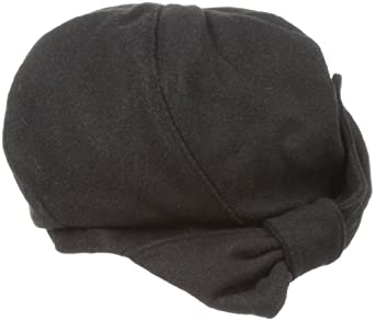 San Diego Hat Women's Wool Beret Hat with Felt Bow, Black, One-Size
