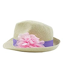 RuffleButts® Infant / Toddler Girls Fedora with Flower - Natural/Purple - 0-12m (S)