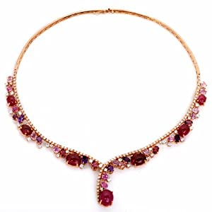 Estate 45.50ct Diamond Pink Tourmaline Amethyst 18k Gold Necklace