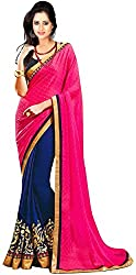 WXW Fashion Women's Pink & Blue Georgette Saree with Blouse Piece