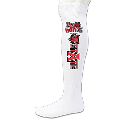 Unisex Arkansas State Red Wolves Knee High Long Athletic Soccer Rugby Football Sport Tube Sock White (Arkansas Basketball Tickets compare prices)