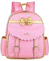 Cute Bowknot Girls Toddler Preschool and Junior School Backpack Pink Large