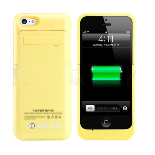 Slim External Rechargeable Backup Battery Charger Charging Case Cover For Iphone 5C With Pop-Out Kickstand 2200Mah (Yellow)
