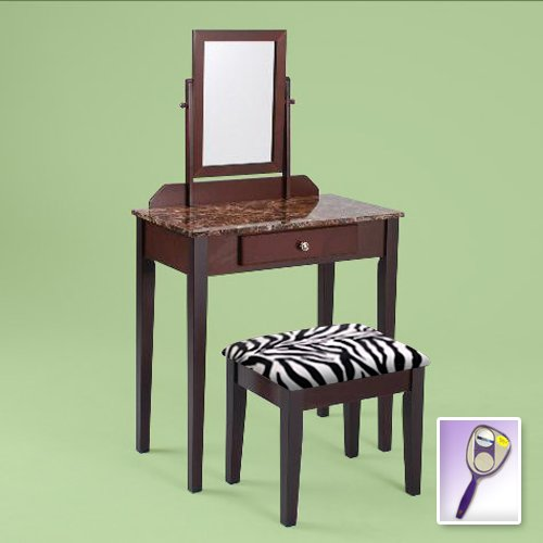 New Cappuccino Espresso Finish Wooden Make Up Vanity With Faux Marble Table Top Table And Mirror & Cappuccino Espresso Finish & White Zebra Faux Fur Themed Bench front-425982