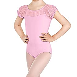 BHL Girls Dance Leotard 3-12 Years Lace Short Sleeve (4-6, Pink)