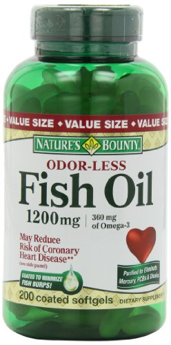 Nature'S Bounty Odorless Fish Oil 1200Mg (Value Size), 200-Count, Omega 3