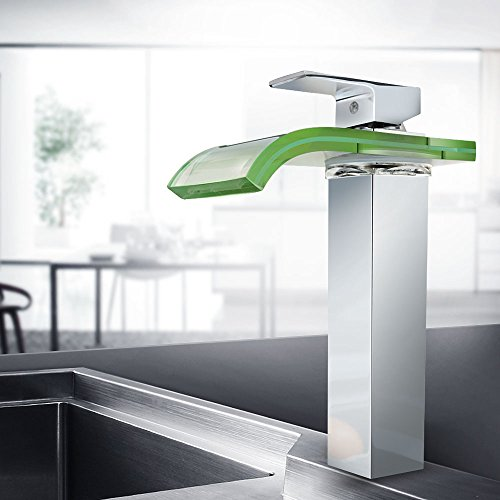 Read About BHQ J1001 Deck Mount Water Power Waterfall Tub Bathroom Vessel Sink Faucet with LED Color...