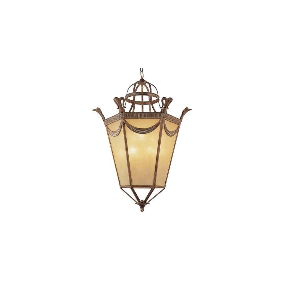 Trans Globe 6948 Nine Light Foyer Pendant, Amber Frost Glass