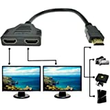 REDGO 1080P HDMI Male to 2 HDMI Female 1 in 2 out Splitter Black Cable Adapter Converter