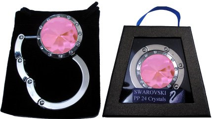 1 Silver & Pink with Swarovski Crystal FOLDING Chatt Purse Hook & Black Velvet Pouch and Gift Box