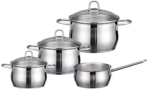 ELO Platin Stainless Steel Kitchen Induction Cookware Pots and Pans Set with Shock Resistant Glass Lids, Easy-Pour Rim and Integrated Measuring Scale, 7-Piece (German Cookware Brands compare prices)