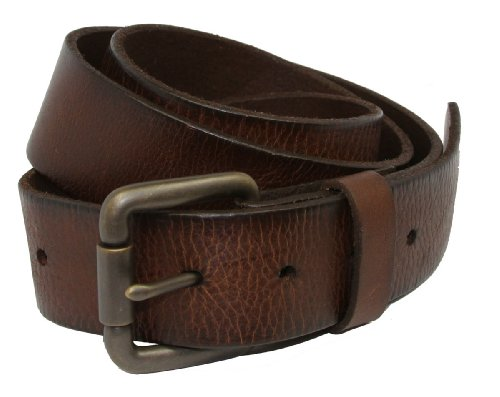 Vintage Full Grain Leather Brass Roller Buckle Belt (36) (Solid Leather Belt compare prices)