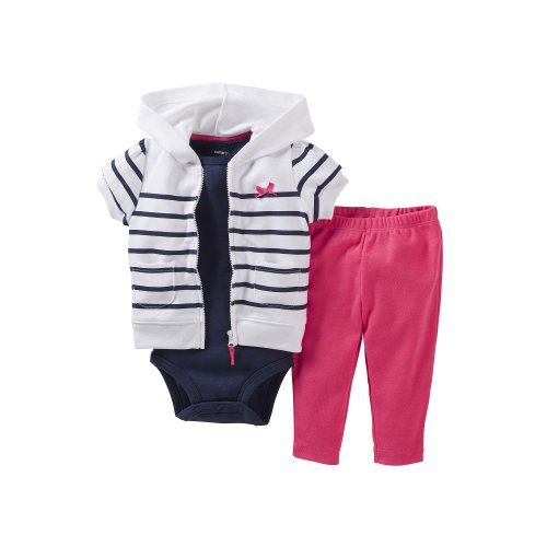 Carter'S Stripe 3Pc. Hoodie S/S Cardigan Set (3 Months) front-142593