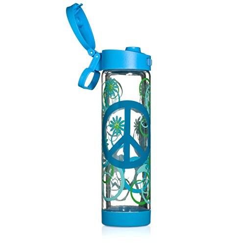 Glasstic Glass Water Bottle - 16Oz - Double Walled - Blue Flip Cap - Peace Design