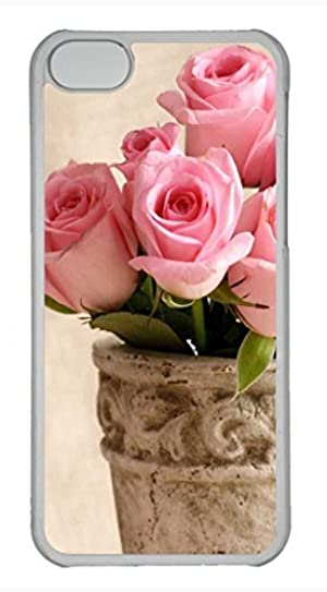 iPhone 5c case, Cute Light Pink Roses iPhone 5c Cover, iPhone 5c Cases, Hard Clear iPhone 5c Covers