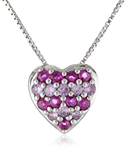 Sterling Silver Ruby and Pink Sapphire Heart Pendant Necklace, 18""