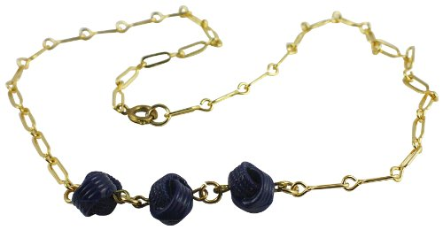 Global Stock Surplus 18k Gold Plated/long Link Necklace With Blue Rope Pendant/202/made In UK