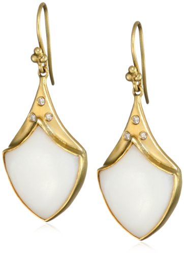Lauren Harper Collection Over the Moon 18k Gold, Mother-Of-Pearl and Diamond Crest Earrings