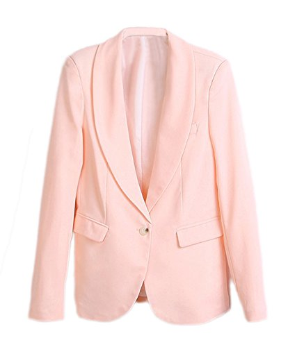 Alionz Women Autumn Lapel Collar Candy Solid Outwear Cardigan Suit Blazer
