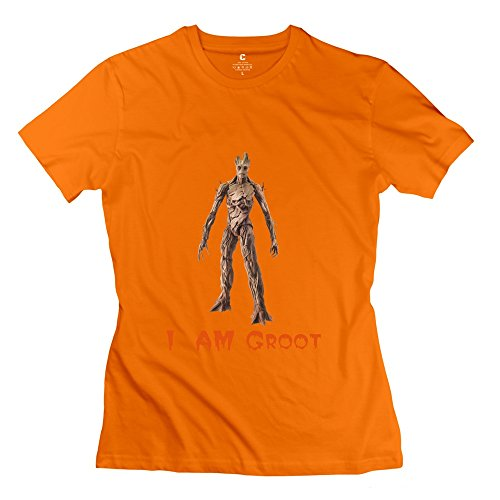 """KST da donna, """"I Am Groot-Maglietta Slim Fit"""" arancione L"""