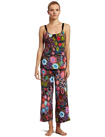 Josie by Natori Women's Exotic Cami Pajama Set,Black/Hyacinth,X-Small