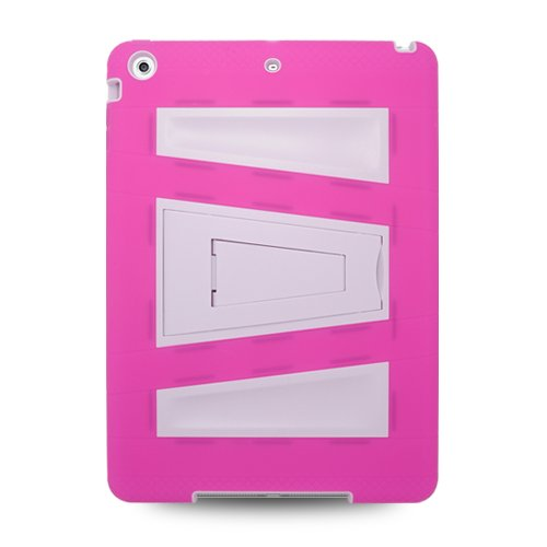 =>  Apple iPad Air (iPad 5 5th Generation) Hybrid Skin Case with Kickstand - Hot Pink/White