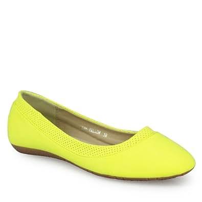 Klassische Ballerinas Damen Schuhe mit Leder Innensohle und super bequemer Polsterung gelb 43