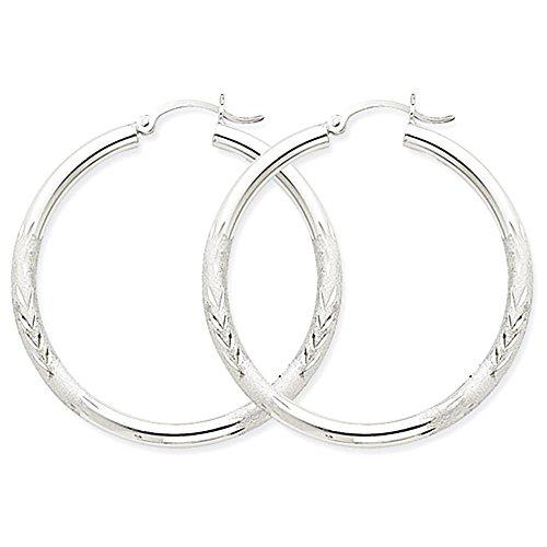 10k-white-gold-satin-3-millimetri-orecchini-a-cerchio-rotondo-taglio-diamante