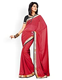 Amazing Red Chiffon Designer Saree