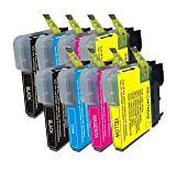 2 Compatible Sets of Brother LC980 / LC1100 Printer Ink Cartridges (8 Inks) - Black / Cyan / Magenta / Yellow for Brother DCP-145C DCP-163C DCP-165C DCP-167C DCP-195C DCP-197C DCP-365CN DCP-373CW DCP-375CW DCP-377CW / MFC-250C MFC-255CW MFC-290C MFC-295C