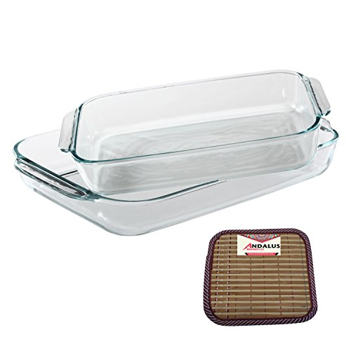 Pyrex Basics 2 Piece Value Plus Pack with 2 & 3 Quart Clear Oblong Glass Baking Dishes - Includes Bamboo Hot Pad by Andalus (Microwave 13 Deep compare prices)