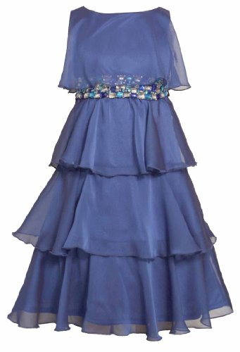 Size-14, Royal, Bnj-2490R, Jeweled Waistline Tiered Chiffon Dress, Bonnie Jean Tween Girls Special Occasion Flower Girl Party Dress front-1058675