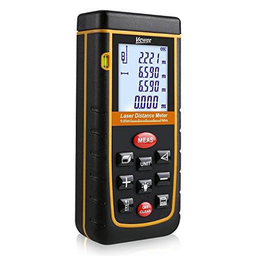 Tacklife Laser Entfernungsmesser Distanzmessgerät 0,05~60m/±2mm mit LCD Hintergrundbeleuchtung, inkl.Batterie und Schutztasche [Viewee]