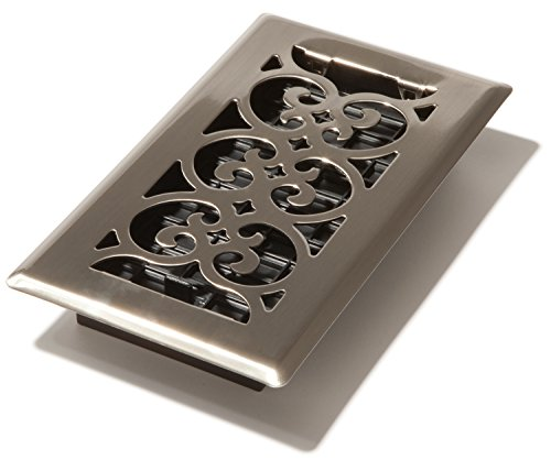 Decor Grates SPH408-NKL 4-Inch by 8-Inch Scroll Floor Register, Brushed Nickel (8x10 Floor Register compare prices)
