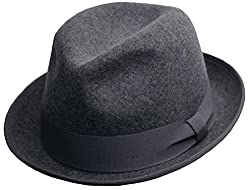Differenttouch Men's 100% Crushable Merino Wool Felt Fedora Hats HE41 (S/M, Grey)