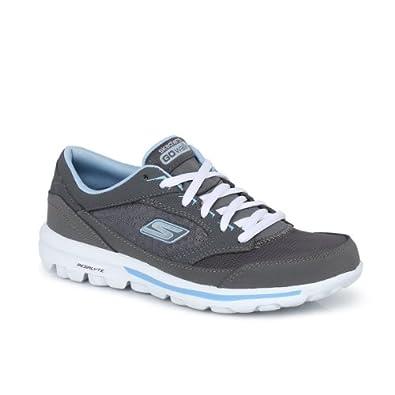 Buy Skechers Grey GoWalk Baby Ladies Leather Mesh Ladies Trainers by Skechers