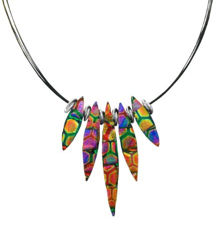 Sterling Silver Dichroic Glass Multi-Color Honeycomb Almond-Shaped Necklace, 18""