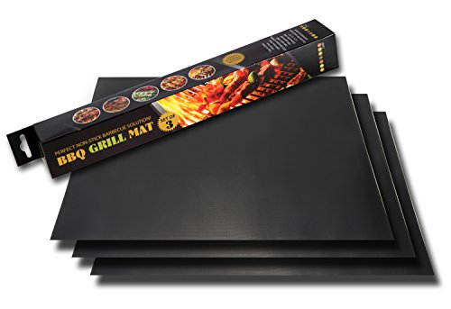 BBQ Grill Mat - Set of 3 Heat Mats - Make Grilling Easy with These 100% Non-stick Cookout Accessories - Protect Your Barbecue Parts and Also Cook More Healthily - Can Also be Used in Gas and Electric Ovens - Made of PTFE (PFOA free) - Easy to Clean and Dishwasher Safe - Unbeatable Lifetime No Questions Guarantee!