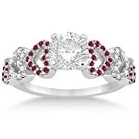 Heart Designed Red Ruby and Diamond Engagement Ring Setting 14k White Gold (0.30ct from Allurez