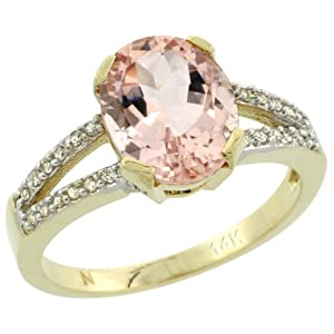 Revoni - Bague Femme - Or jaune 585/1000 (14 carats) - Diamants et Morganite ovale 2,4 cts - Taille 57