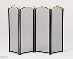 Moorby Fireguard - 4 Panel Screen, Black with Polished Brass Top
