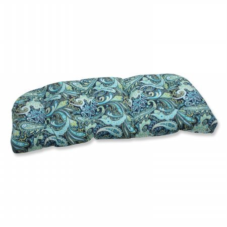 Pillow Perfect Outdoor Pretty Paisley Wicker Loveseat Cushion, Navy picture