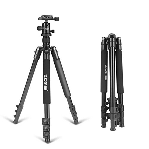 ZOMEI 64.5-Inch Lightweight Aluminum Camera Tripod With Bag, and Ball Head For Canon, Nikon, Sony, Samsung, Panasonic, Olympus, Fuji DSLR And Camcorders (Proline Tripod Plate compare prices)