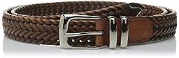 Perry Ellis Men\'s Big-Tall Portfolio Braided Belt, Luggage, 54