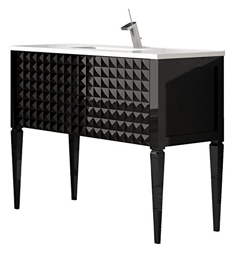 Diamond 32-Inch Wide Bathroom Vanity Cabinet Set, Black High Gloss, Single Sink White Sink Console, Glass Top, Floor Mounted, Made In Spain (European Brand) front-41004