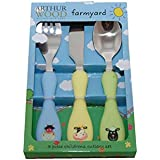 Arthur Wood Farm Animals Kids Cutlery Set, Silver