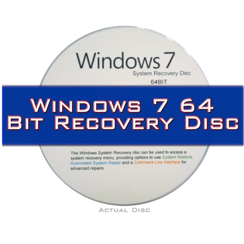 Windows 7 System Recovery disk Live Boot CD 64 bit DVD (disc is comparable with Home Premium, Professional and Ultimate)