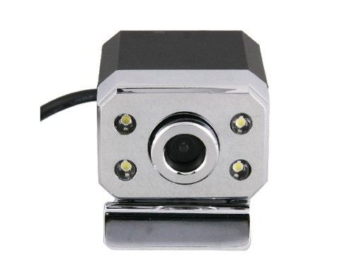 HTI 0.6Mpx USB Webcam PC Camera with Microphone LED Light and Clip (Silver)