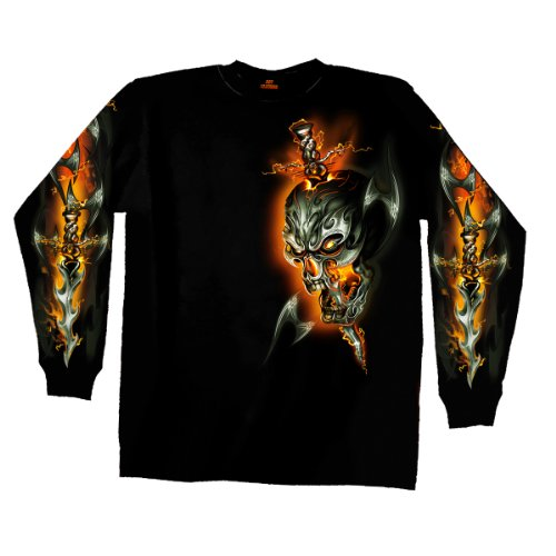 Hot Leathers Electric Skull Long Sleeve T-Shirt (Black, XX-Large)